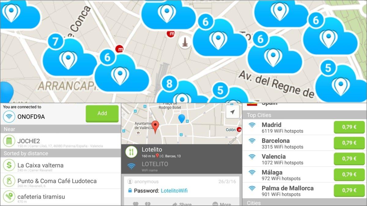 Todos los puntos de acceso Wifi gratis en tu ciudad