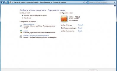 Configura la función de Control parental en tu PC