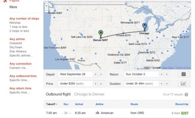 Busca vuelos con el servicio Flight Search de Google