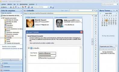 Tus contactos de LinkedIn en Outlook