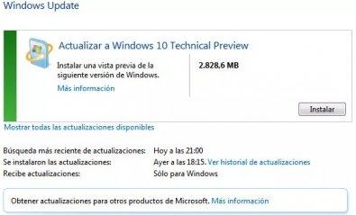 Windows 10 ya se puede instalar con Windows Update