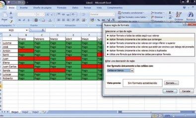 Usa el formato condicional de Excel para controlar pagos