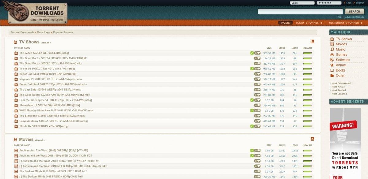 Torrent Downloads contiene pelis, programas y mucho más