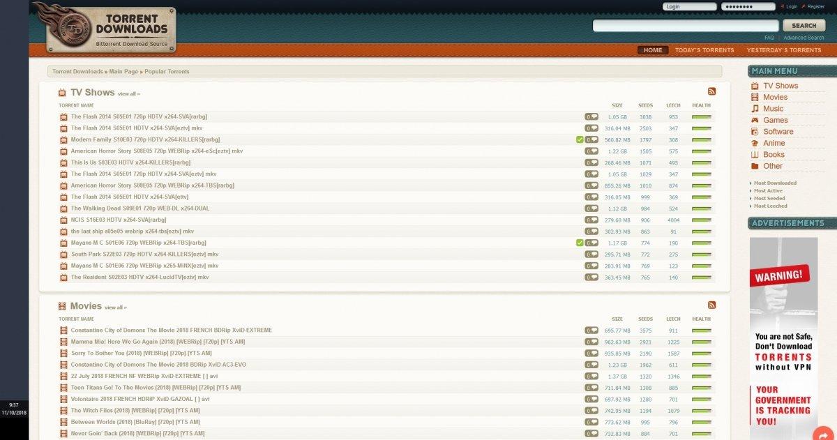 Torrent Downloads contiene torrents a mansalva