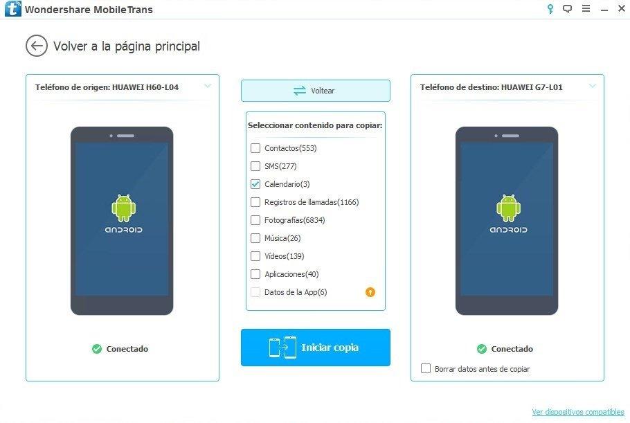 Transferencia de datos entre dos teléfonos Android