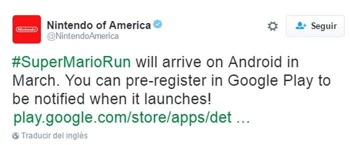 Tuit de Nintendo anunciando la fecha de descarga de Super Mario Run para Android