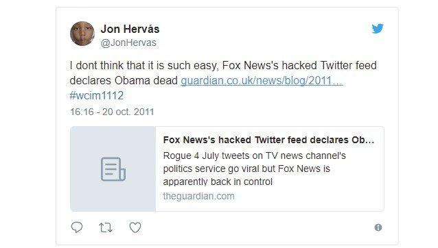 Tuit en el que Obama muere según la Fox