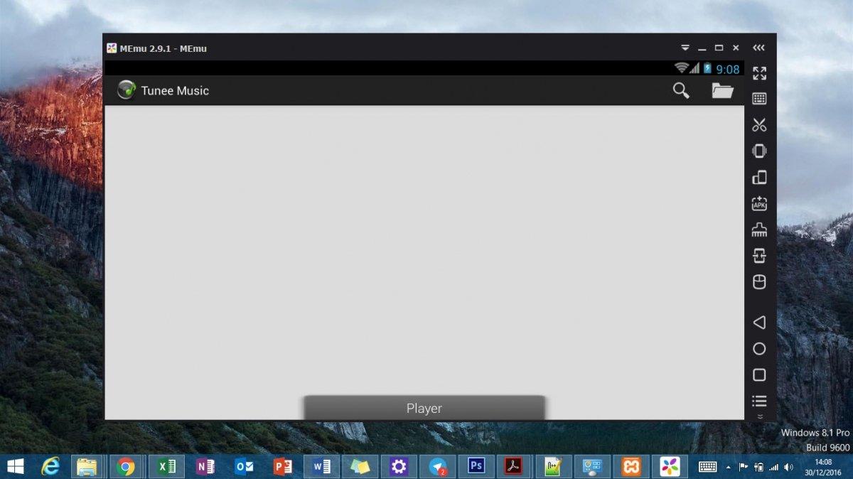 Tunee Music Downloader funcionando sobre MEmu