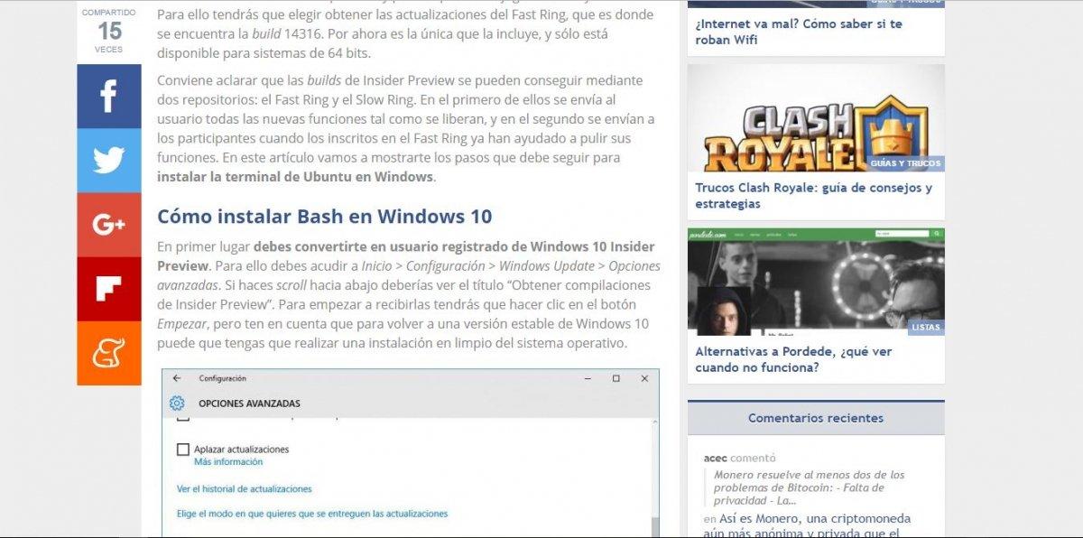 Tutorial publicado por nosotros para instalar Bash en Windows