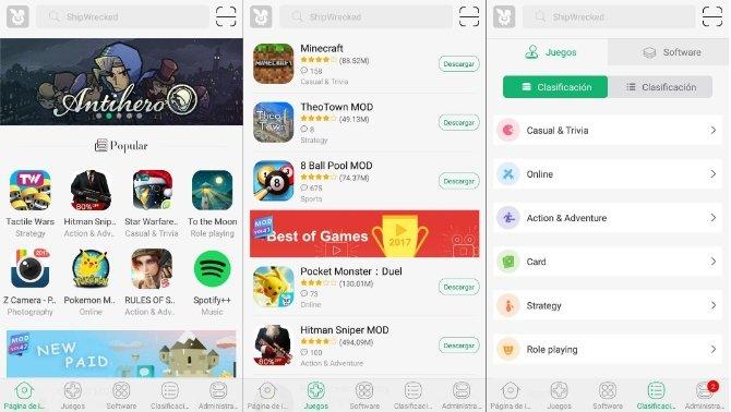 TutuApp podría pasar por la tienda oficial de cualquier sistema operativo, tiene diseño sobresalient