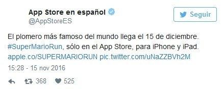Tweet de App Store en español anunciando la llegada de Super Mario Run