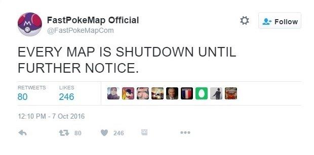 Tweet de FastPokeMap anunciando el cierre del servicio