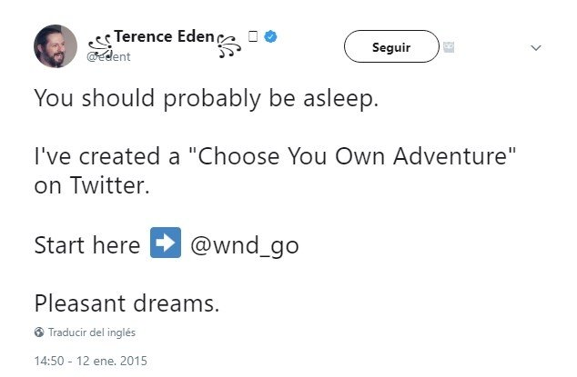Tweet original de Terence Eden que da comienzo a su aventura