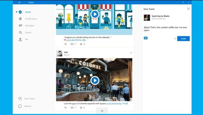 La app de Twitter en Windows 10