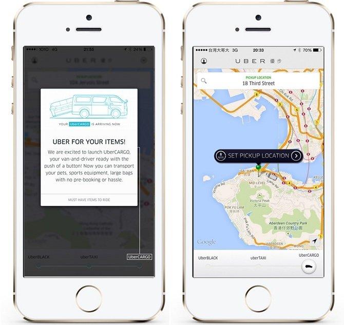 UberCARGO desde la aplicación de Uber