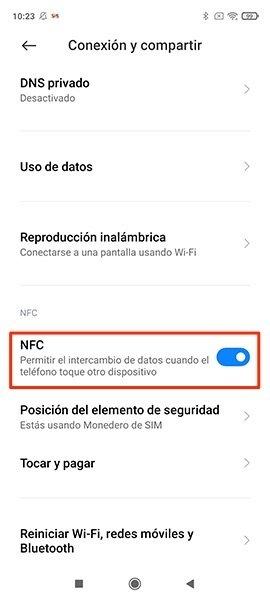 Ubicación de NFC en los Ajustes de Android
