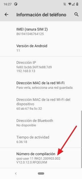 Ubicación del número de compilación de Android