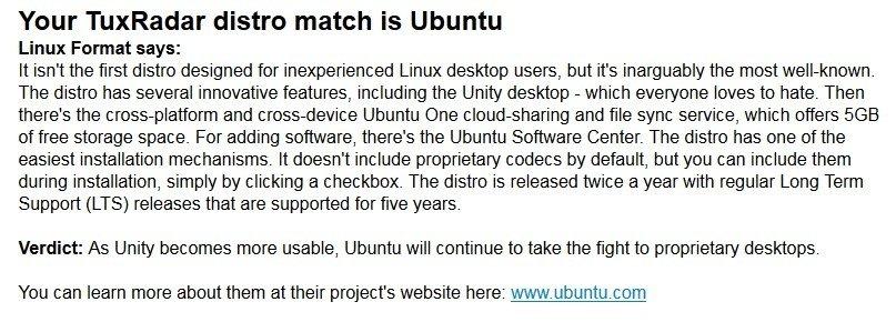 Ubuntu como resultado en Linux Distro Picker