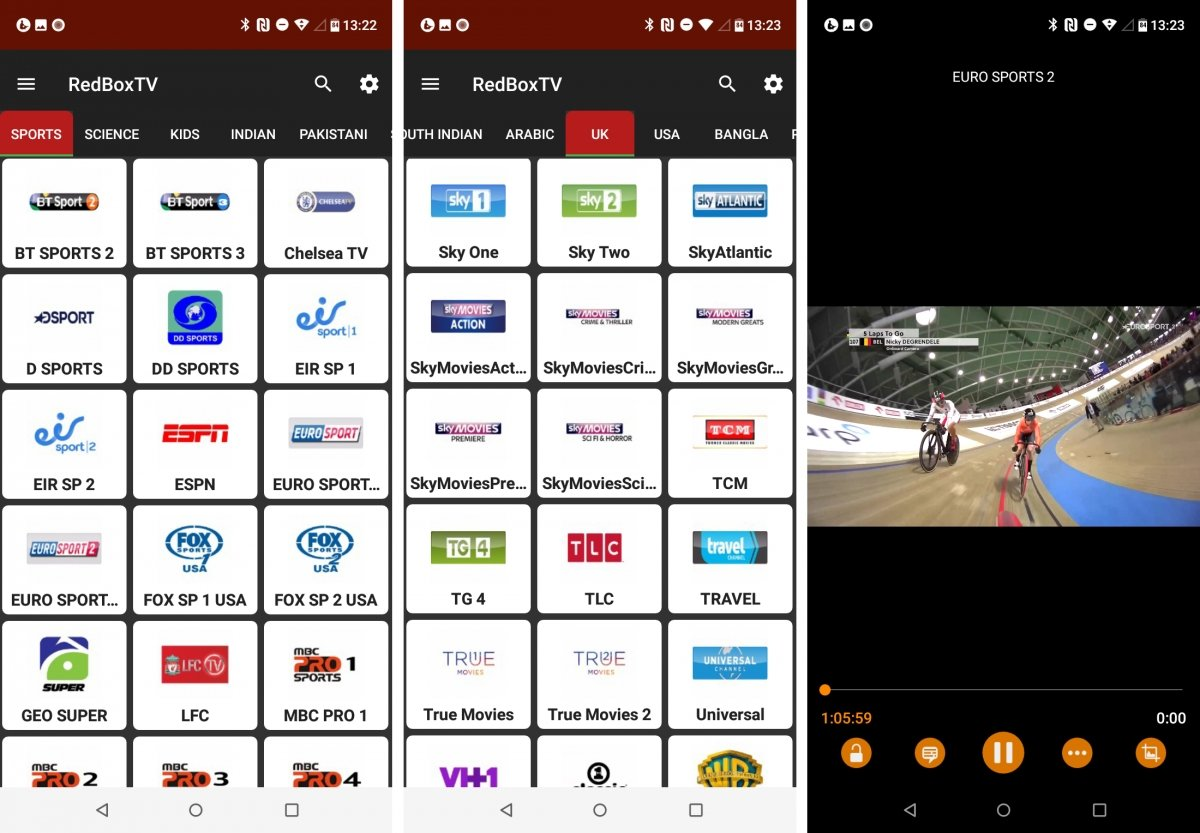Un canal de deportes emite en RedBox TV
