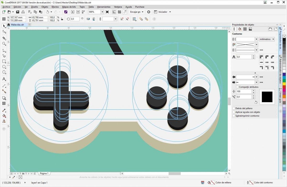 Un gamepad diseñado con CorelDraw