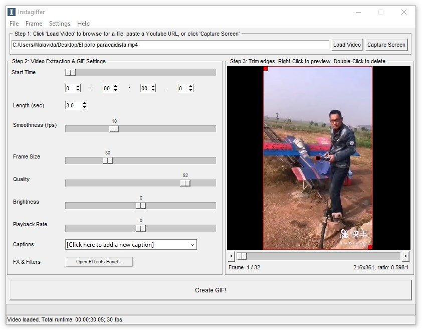 Un vídeo importado en Instagiffer