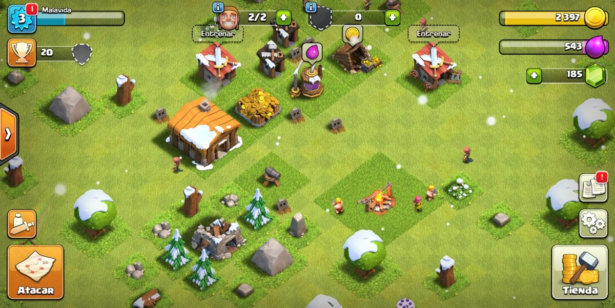 Una aldea de nivel 2 en Clash of Clans