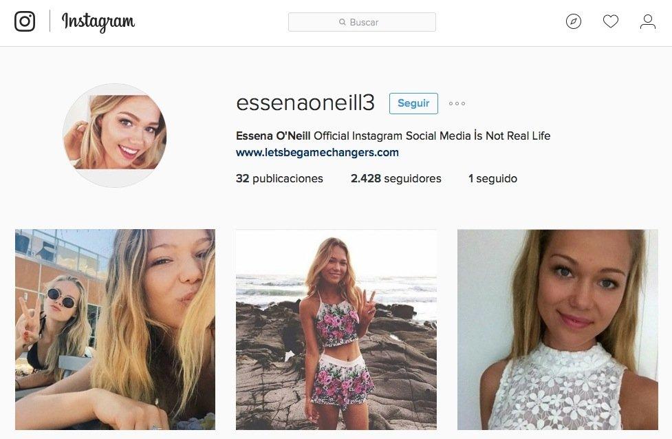 Una de las cuentas falsas de Essena O'Neill en Instagram