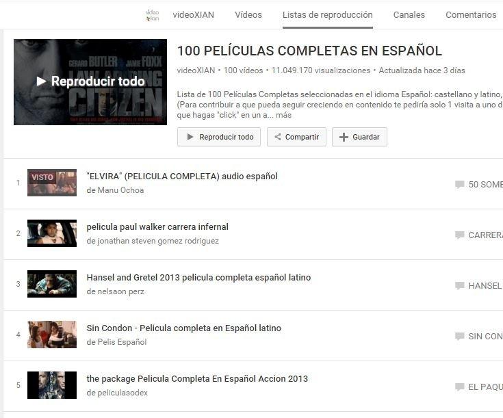 Una de las listas de reproducción existentes en YouTube