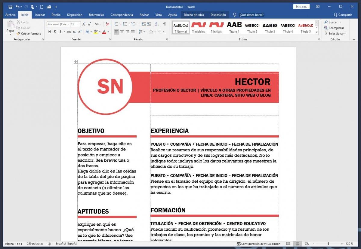 Una imagen de Microsoft Word