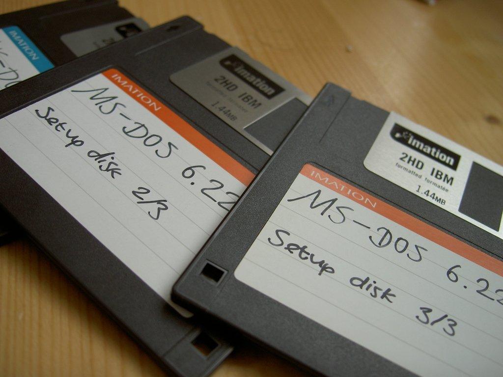 Una reliquia, diskettes de instalación de MS-DOS