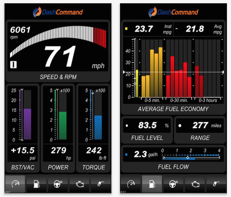 Uno de los paneles de control de la aplicación DashCommand