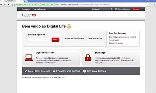 URL falsa de HSBC en la que los clientes introducen sus credenciales sin ningún tipo de miedo