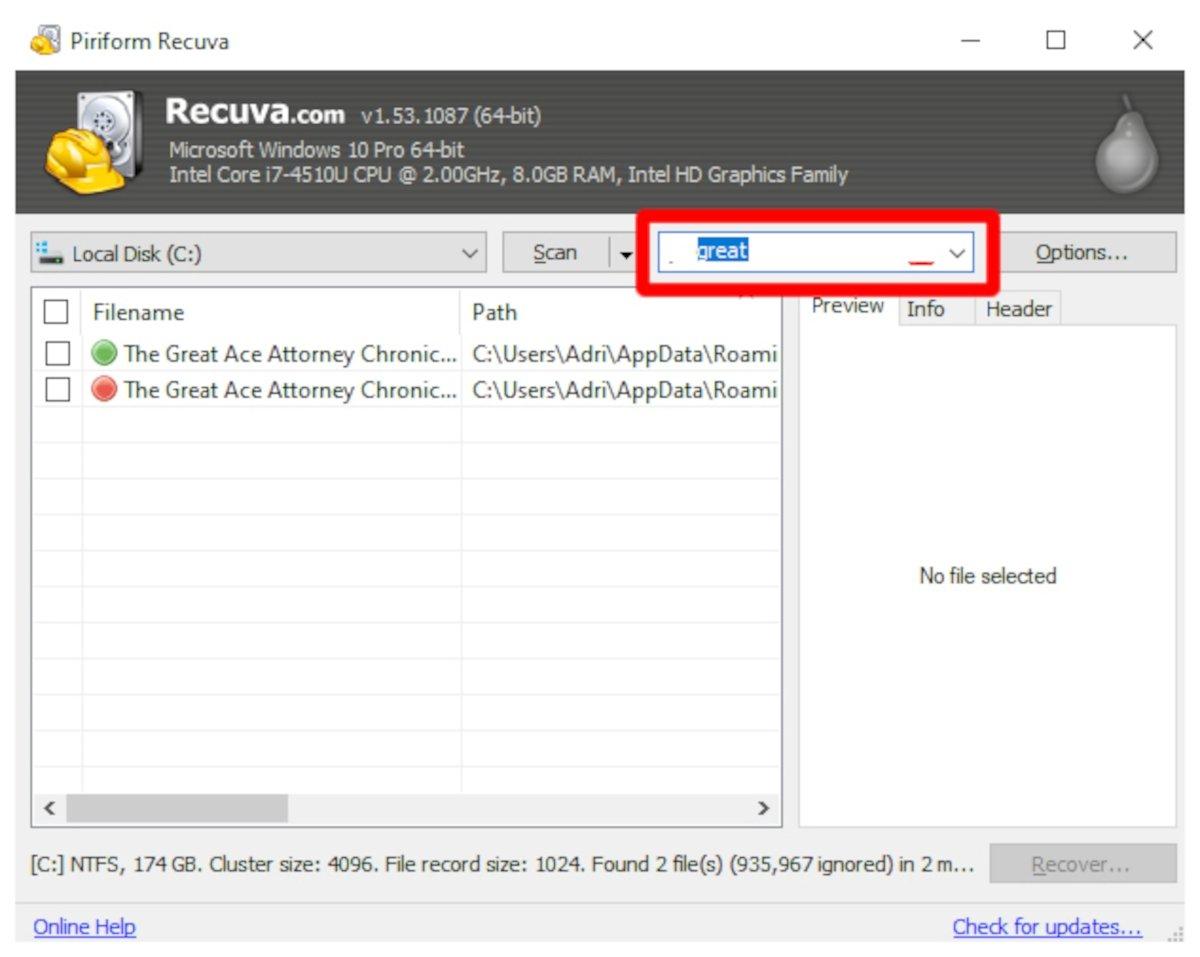Usando el buscador es más fácil encontrar los archivos borrados