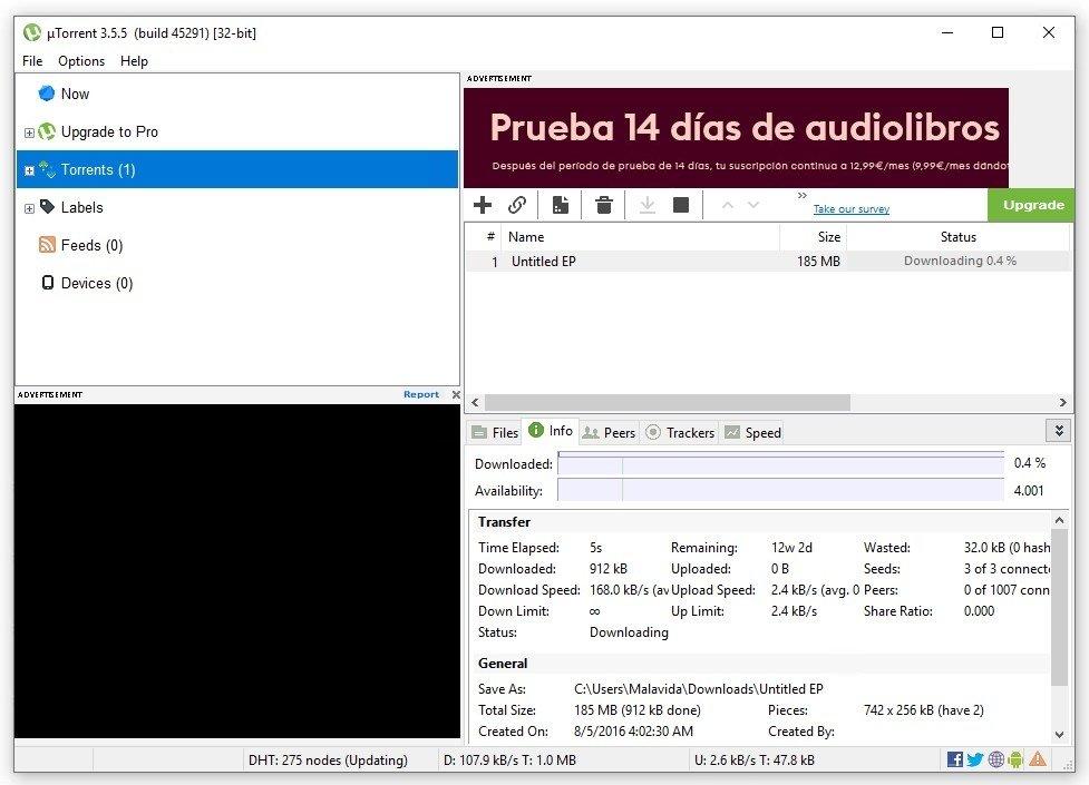 uTorrent mientras descarga un archivo