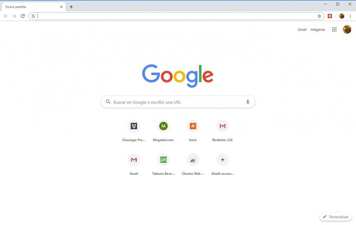 Venatana inicial de Google Chrome