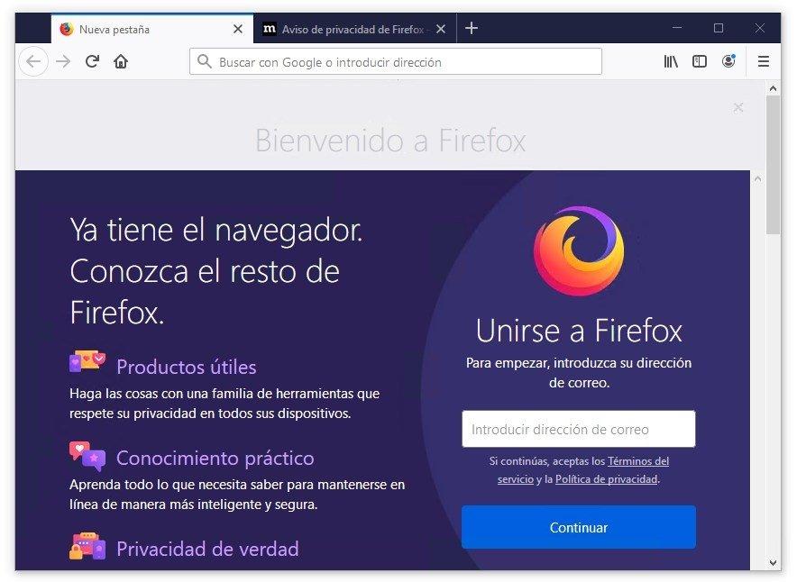 Ventana de bienvenida de Mozilla Firefox