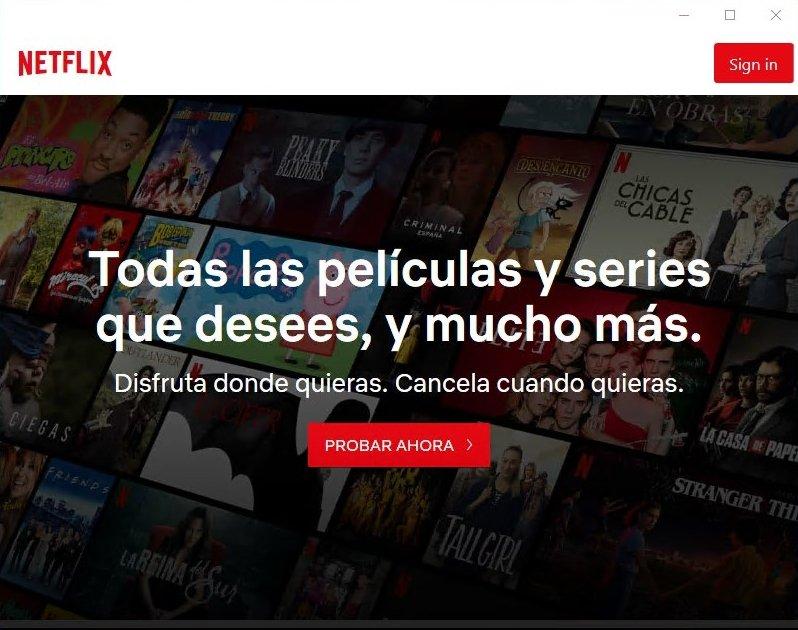 Ventana de bienvenida de Netflix para Windows