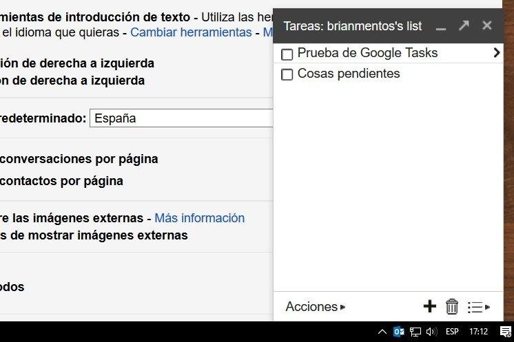 Ventana de creación de listas de Gmail