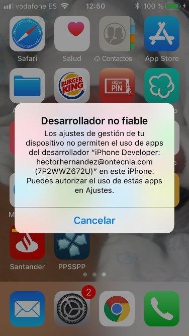 Ventana de desarrollador no fiable en iOS