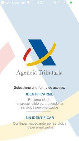 Ventana de identificación de la app de la Agencia Tributaria