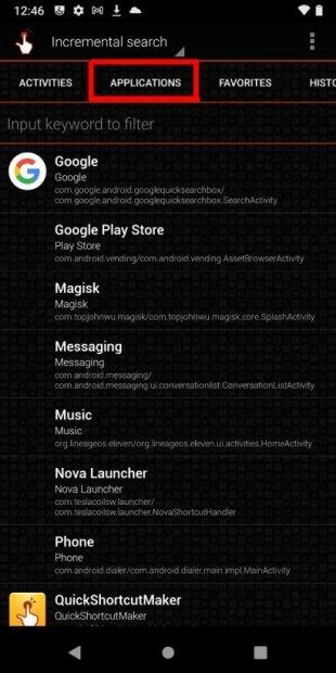 Ver el listado de aplicaciones
