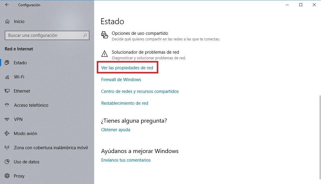 Ver Propiedades de red en la configuración de Windows