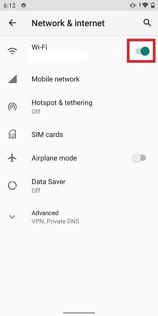 Verificar que el wifi esté activo en ajustes