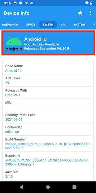 Versión de Android en Device info