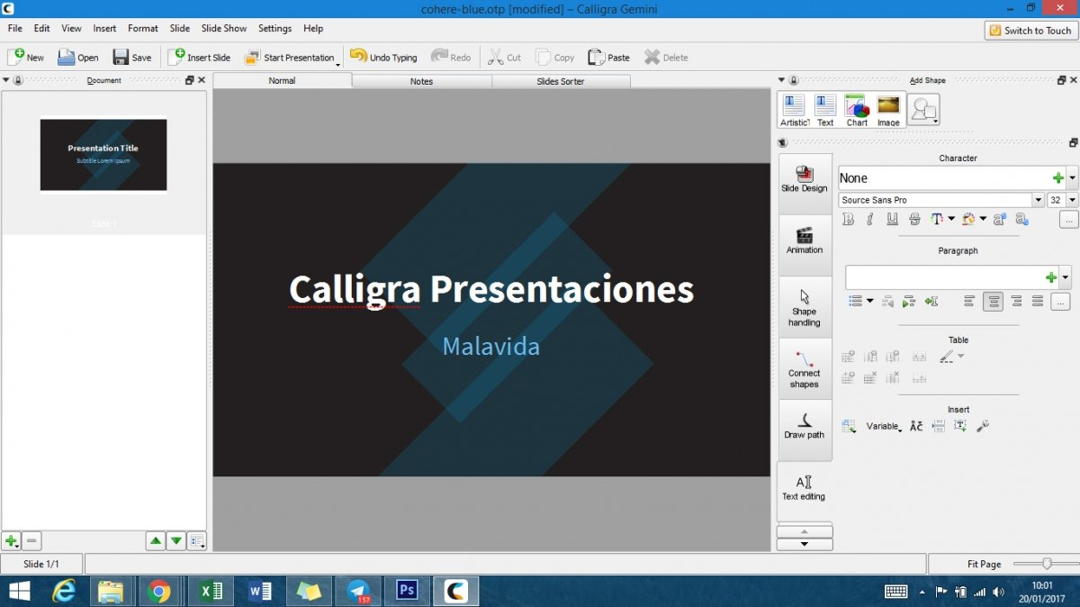 Versión de Calligra Gemini Stage para Windows