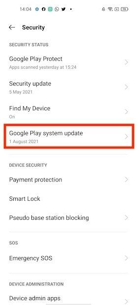 Versión de la actualización de Google Play
