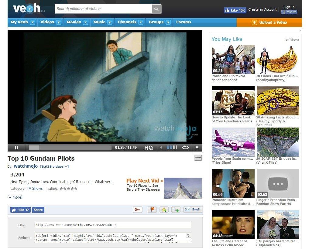 Vídeo anime en Veoh
