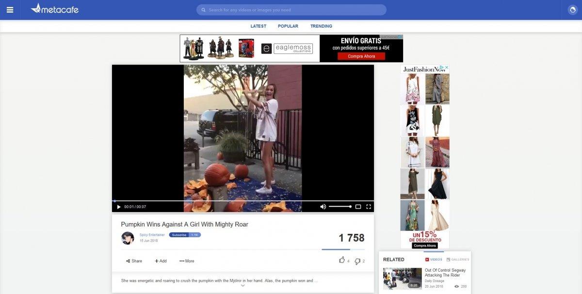 Vídeo de caídas en Metacafe