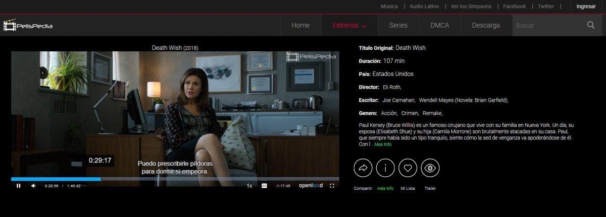 Viendo una película subtitulada en PelisPedia