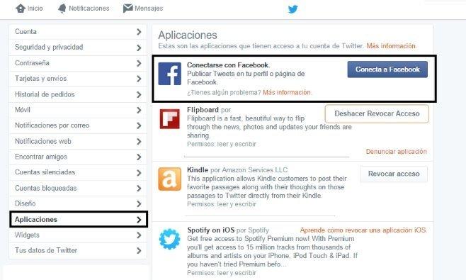 Vincular Twitter-Facebook